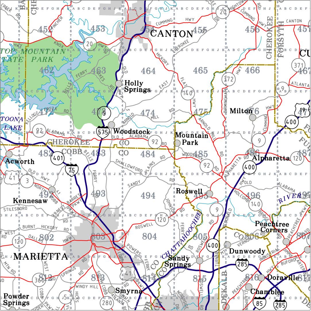 Georgia Highway City And County Wall Maps Aero Surveys Of Georgia - Map of state of georgia