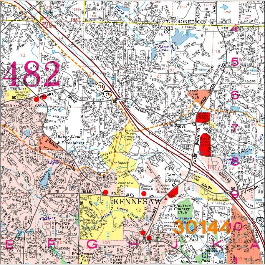 Cherokee County Zip Code Map.Georgia County Wall Map Cherokee County Georgia Wall Map