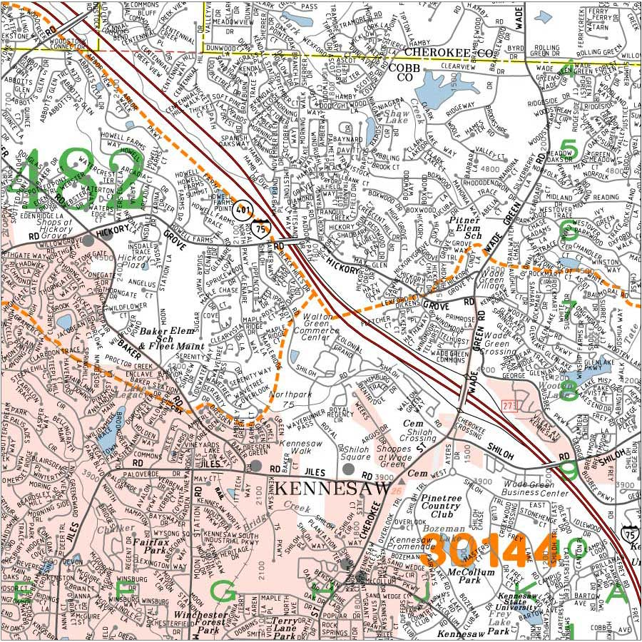 Detailed Custom Atlanta Georgia Wall Maps Aero Surveys Of Georgia - Atlanta georgia map zip codes