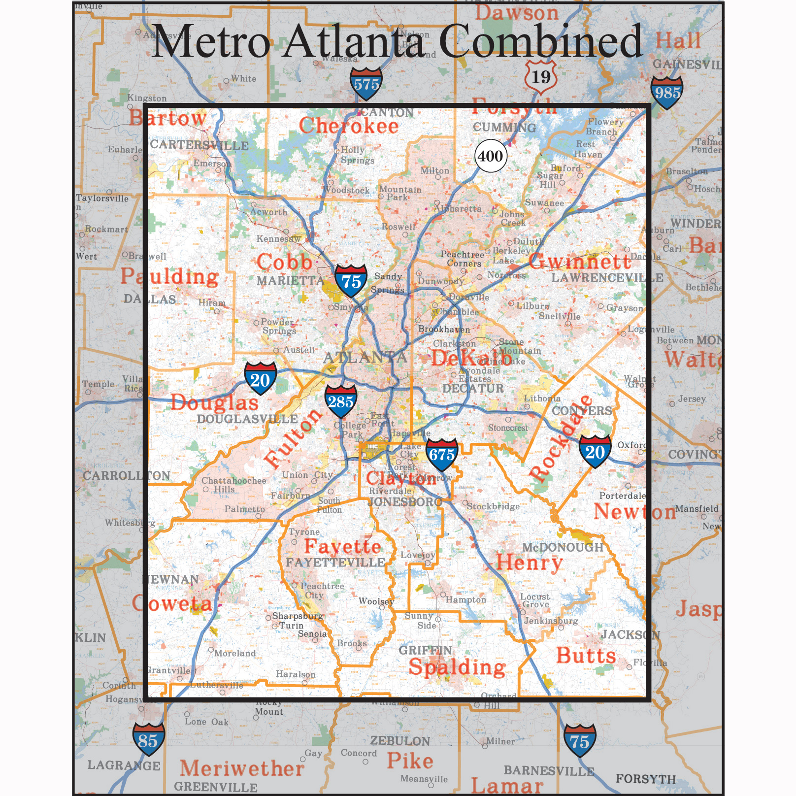 Atlanta Georgia Wall Maps Amp Zip Code Maps  Aero Surveys